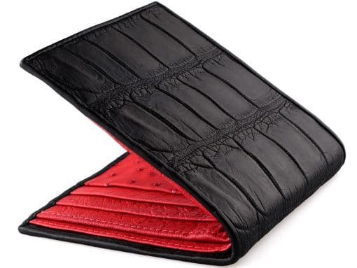 Crocodile Wallet Handmade Leather Wallets Black n Red Ostrich Quill