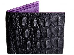 Black Croc Skin Wallet with Purple Interior