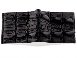 Black Croc Skin Wallet with Purple Ostrich Interior
