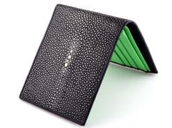Black Green Stingray Skin Wallets