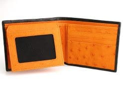 Classic Mens Alligator Wallet Black with Orange Ostrich Interior