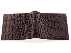 Croc Wallet Crocodile Skin Brown with Tan Goat Skin Interior