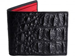 Croc Wallet Mens Classic Wallet On Sale Black with Red Ostrich Quill