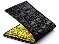 Croc Wallet Tough Leather Wallets Black n Yellow