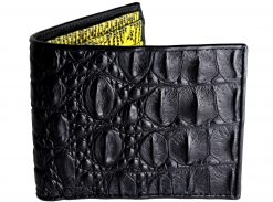 Croc Wallet Tough Leather Wallets Black n Yellow