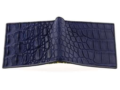 Croc Wallet Tough Leather Wallets Blue n Yellow