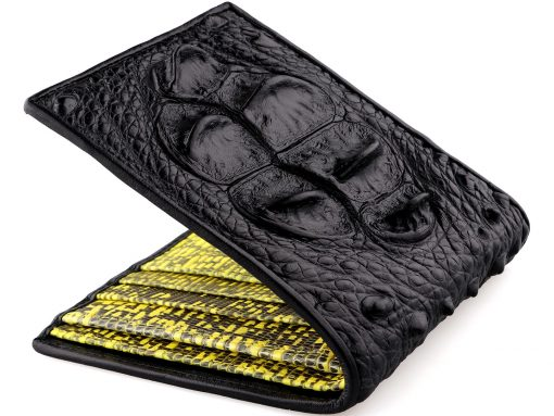 Croc Wallets On Sale Black and Yellow Lizard Interior