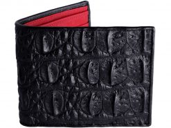 Crocodile Leather Wallet Black with Red Ostrich