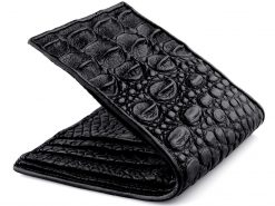 Crocodile Leather Wallet Mens Classic Black Wallet