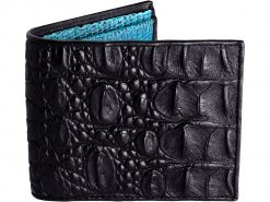 Crocodile Leather Wallets For Men Black and Blue