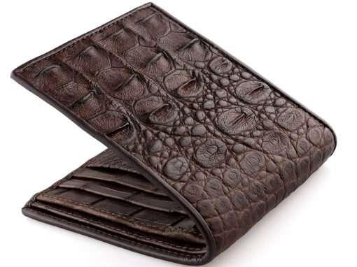 Crocodile Mens Wallet Genuine Crocodile Brown Croc Interior