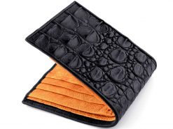 Gator Wallet Genuine Crocodile Skin Wallets Black Orange