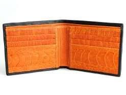 Gator Wallet Genuine Crocodile Skin Wallets Black Orange