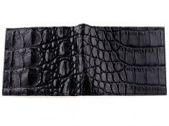 Gator Wallet Genuine Crocodile Skin Wallets Black with Orange Interior