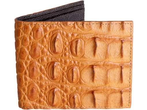 Genuine Croc Skin Wallets Tan with Brown Ostrich