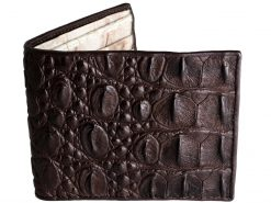 Genuine Crocodile Wallet Croc Skin Brown n White