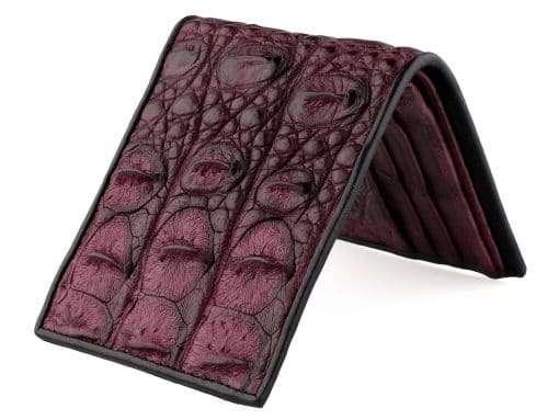 Genuine Crocodile Wallet For Men Black Cherry