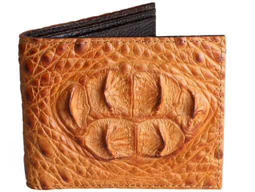 Mens Crocodile Wallets Tan Croc Head Wallet