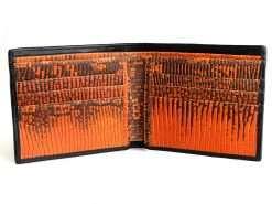 Mens Designer Wallet Shark Croc Wallet Black n Orange