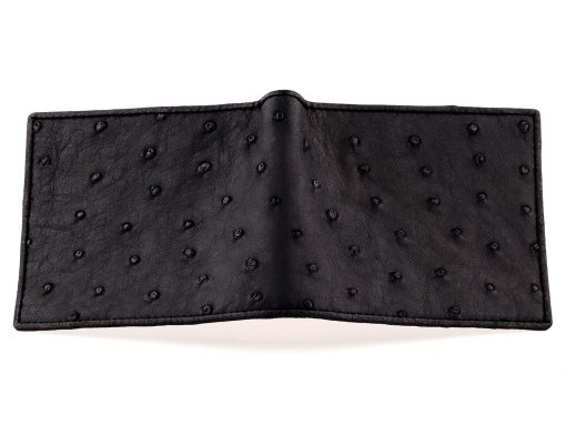 Ostrich Leather Wallet Black and Red