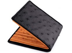 Ostrich Leather Wallet Black n Orange