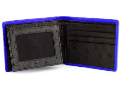 Ostrich Leather Wallet Blue
