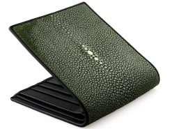 Stingray Wallet Genuine Stingray Skin Green n Black