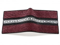 Stingray Wallet Sharkskin Wallet Mulberry Wine Pearl Row Wallet