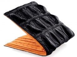 Tough Wallet Genuine Crocodile Wallets Black n Orange