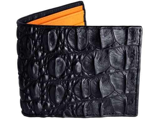 Tough Wallet Genuine Crocodile Wallets Black n Orange Ostrich