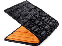 Tough Wallet Genuine Crocodile Wallets Black n Orange Ostrich