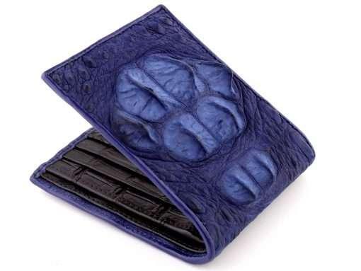 blue croc head wallet
