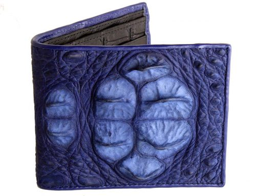 blue croc head wallet