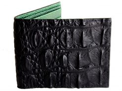 crocodile leather wallets black green interior
