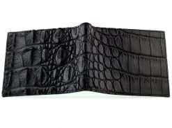 crocodile leather wallets black green interior