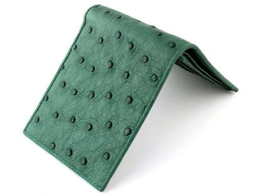 green ostrich leather wallet for men