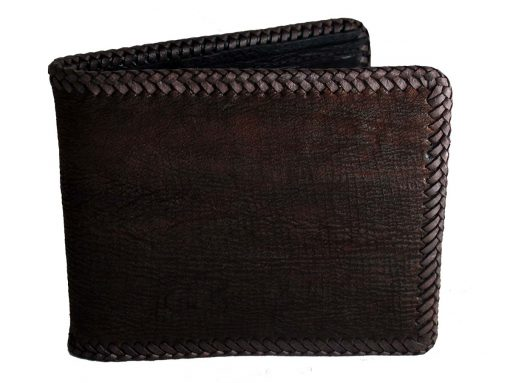 grunge wallet sharkskin brown