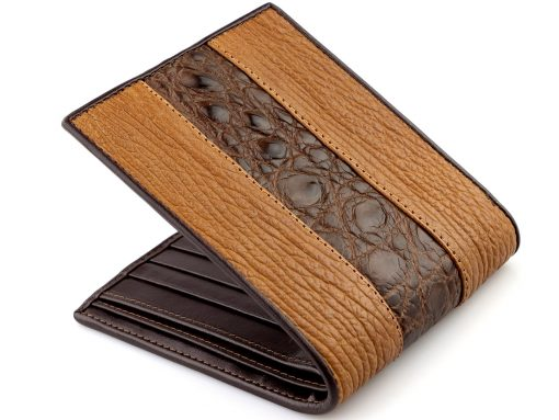 handmade leather wallets crocodile shark