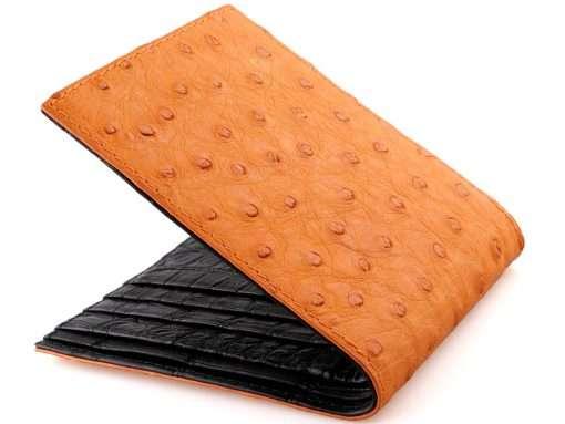 ostrich wallet on sale burnt orange n black croc